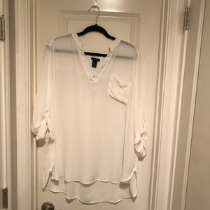 NWT White Rolled Sleeve Blouse